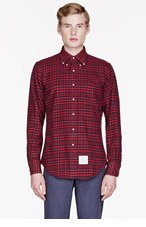 THOM BROWNE Red & Navy plaid shirt for men