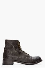 CHRISTIAN PEAU Black Lizardskin Military Boots for men