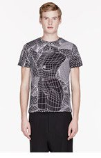 CHRISTOPHER KANE Black geometric LANDSCAPE AND FEMALE NUDE T-shirt for men