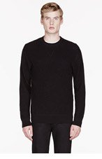MARC BY MARC JACOBS Black waffle cotton thermal shirt for men