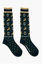 WHITE MOUNTAINEERING Forest Green Jacquard Reindeer Knit Socks for men