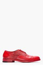 CHRISTIAN PEAU Red Lizardskin Quarter-Brogue Oxfords for men