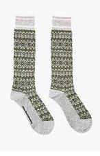 WHITE MOUNTAINEERING Olive Catseye Jacquard Wool Socks for men