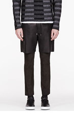 SASQUATCHFABRIX Black LEATHER & suede LAYERED PANTS for men