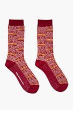 WHITE MOUNTAINEERING Burgundy Mosaic Pattern Socks for men