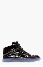 ALEJANDRO INGELMO Black Patent Ombre mid-Top Tron Sneakers for men