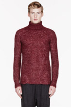 JUNYA WATANABE Burgundy knit MOHAIR & SILK TURTLENECK for men