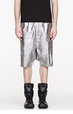 RICK OWENS DRKSHDW Silver metallic harem shorts for men