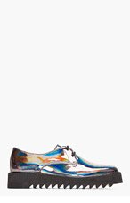 SURFACE TO AIR Gunmetal Iridescent Leather Asteroid Derbys for men
