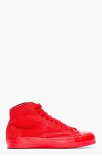 CHRISTIAN PEAU Red Lizardskin High-Top Sneakers for men