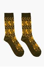 WHITE MOUNTAINEERING Olive Zig Zag Pattern Socks for men
