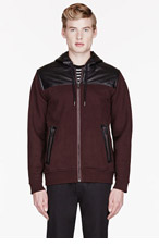 MARC BY MARC JACOBS Burgundy leather-itrmmed THOMPSON SWEATSHIRT for men