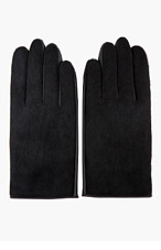 SASQUATCHFABRIX Black Leather & Calf-hair Digable Planets Glove for men