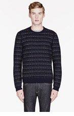 RAG & BONE Navy patterned PATRICK sweater for men