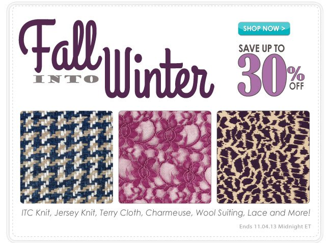Up to 30% off Fall Into Winter Apparel Sale