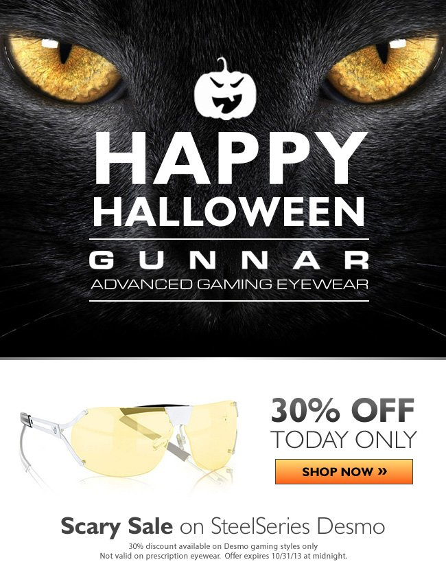 Scary Savings on GUNNARS | 30% off SteelSeries Desmo gaming glasses