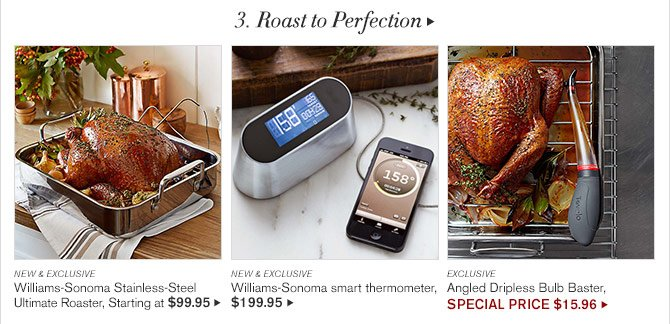 3. Roast to Perfection -  NEW & EXCLUSIVE - Williams-Sonoma Stainless-Steel - Ultimate Roaster, Starting at $99.95 -  NEW & EXCLUSIVE - Williams-Sonoma smart thermometer, $199.95 - EXCLUSIVE - Angled Dripless Bulb Baster, SPECIAL PRICE $15.96