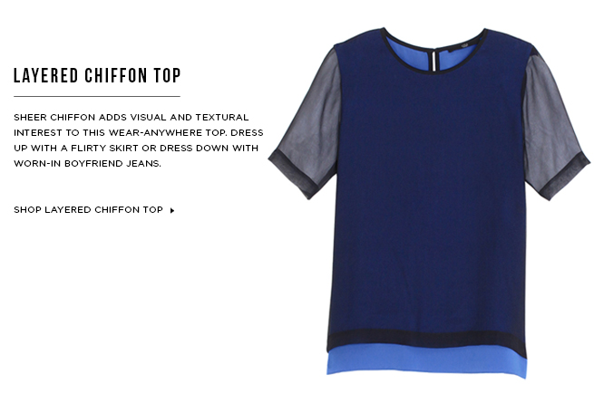 Shop Layered Chiffon Short Sleeve Top >