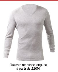 """Tee-shirt manches longues col """"V"""", maille classique Thermolactyl."""