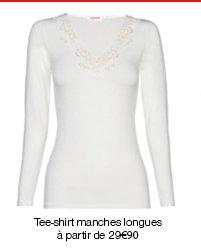Tee-shirt manches longues, microfibre Thermolactyl, degré 2, chaleur douce.