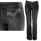 Womens Amy Rhinestone & Stitched Pocket Black Bootcut Jeans