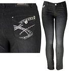 Womens Shelly Studded & Stitched with Rhinestones Black Skinny Jeans