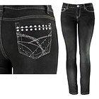 Womens Chloe Studded & Stitched with Rhinestones Pocket Black Skinny Jeans