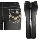 Womens Stella Studded & Stitched with Flap Pocket Black Bootcut Jeans
