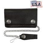Mens Bi-fold American Buffalo Coin Biker Top Grain Leather Wallet