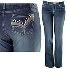 Womens Amy Rhinestone & Stitched Pocket Indigo Bootcut Jeans