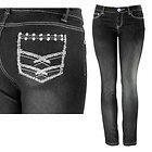 Womens Stacy Studded & Stitched Pocket Black Skinny Jeans