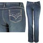 Womens Ellie Rhinestone & Stitched Pocket Indigo Bootcut Jeans