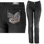 Womens Butterfly Studded & Stitched with Rhinestones Pocket Black Skinny Jeans