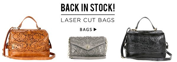 Back In Stock! Laser Cut Bags.