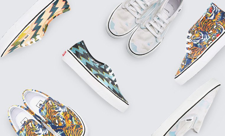 Currently trending: KENZO x Vans The sneaker of the moment is the perfect vehicle for KENZO's exuberant cloud, tiger, and zigzag prints