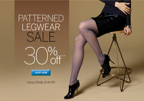All of Silkies patterned legwear is 30% off for a limited time. No Promo Code necessary. Plus receive free standard shipping on all orders of $40 or more.