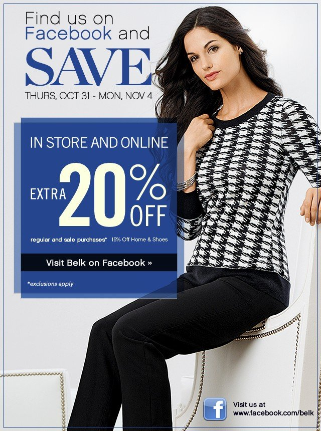 Like us to Save. Extra 20% off. Visit Facebook.