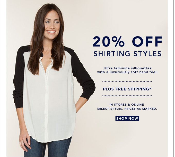20% Off Shirting Styles