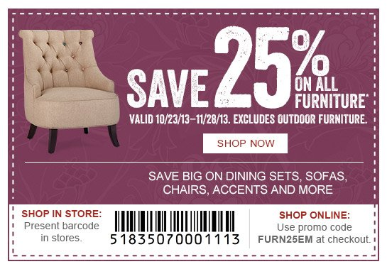 Save 25% on All Furniture