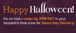 Happy Halloween! It's no trick - order by 2PM EST in your recipient's time zone for  Same-Day Delivery! Shop Now