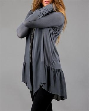 Keysha Solid Color Open Front Cardigan Made In Italy