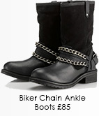 Suede Leather Biker Chain Ankle Boots