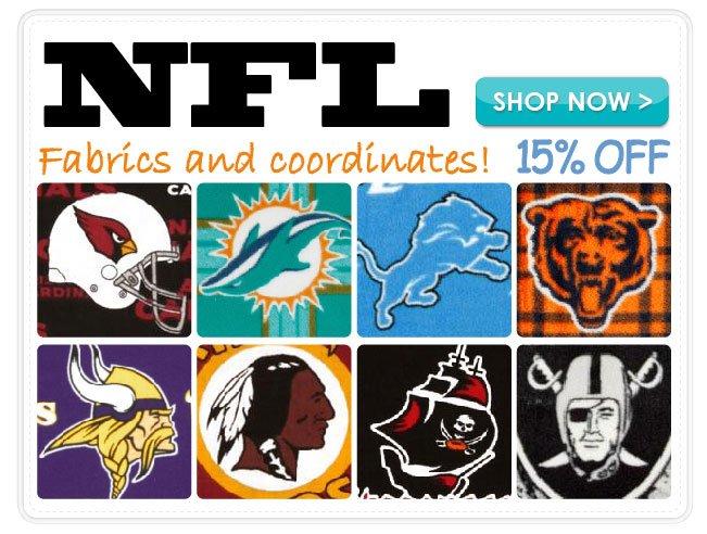 15% Off NFL Fabrics & Coordinates