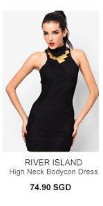 RIVER ISLAND Black Shirred High Neck Bodycon Dress