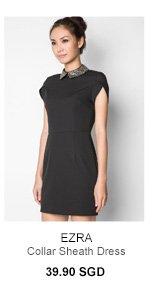 EZRA Embellished Collar Sheath Dress