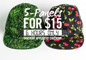 Shop 6 HRS ONLY: 5-Panel Hats for $15