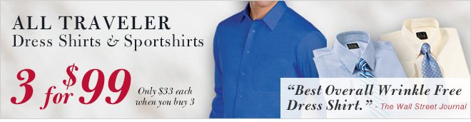Traveler Dress Shirts & Sportshirts - 3 for $99 USD