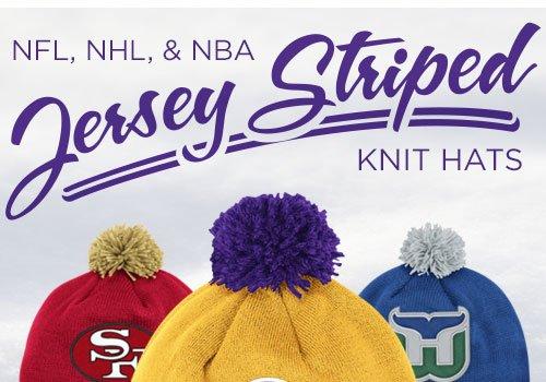 NFL, NHL, & NBA Jersey Striped Knit Hats