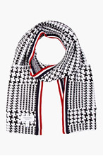 THOM BROWNE Black & White Glen Plaid Scarf for men