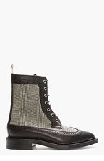 THOM BROWNE Black Houndstooth Check Leather Longwing Brogue Boots for men